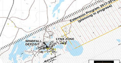 Windfall Lake, Canada: 8.4m grading 97.4g/t Au from 320m depth (DDH OSK-W-17-837)