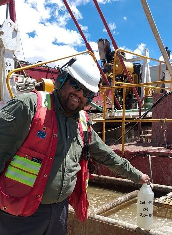 hief geologist ranciso opez with a brine sample from the initial drill hole