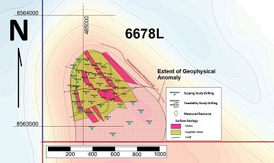 alt='Plan view of vanadium and graphite mineralisation showing extent of measured resource and recently completed 4,000m drilling campaign, which is set to increase the resource base significantly'