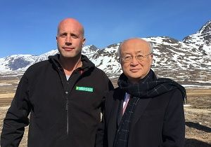 alt='Greenland Minerals MD Dr John Mair with IAEA director general Yukiya Amano on-site, after Greenland became a signatory to IAEA conventions'