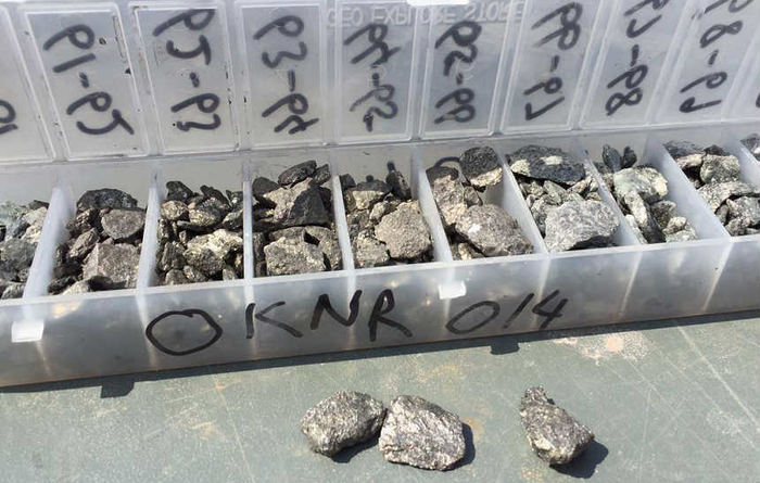 Kantienpan, South Africa: 7m grading 6.44% Zn and 0.43% Cu from 60m depth (OKNR014)
