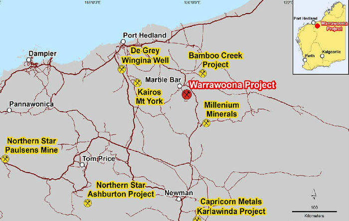 Warrawoona, Australia: 27m grading 5.85g/t Au from 91m depth (17KLRC001)