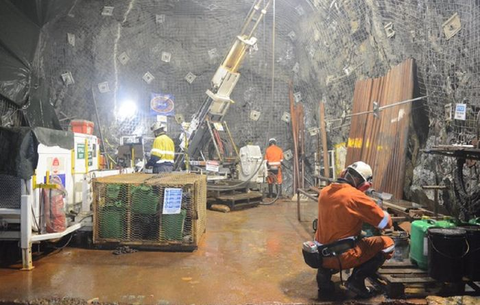 A drill rig set up underground in the Kora North area at K92's Kainantu mine in PNG