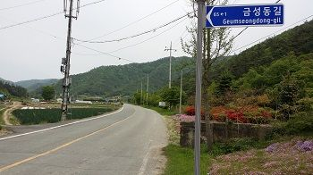 alt='The promising sign for Geumseongdong-gil, or Golden Road, in SAU's Hampyeong project'